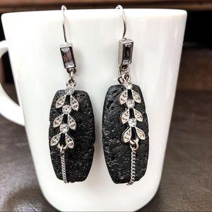 Gorgeous Lava Rock Drop Statement Earrings